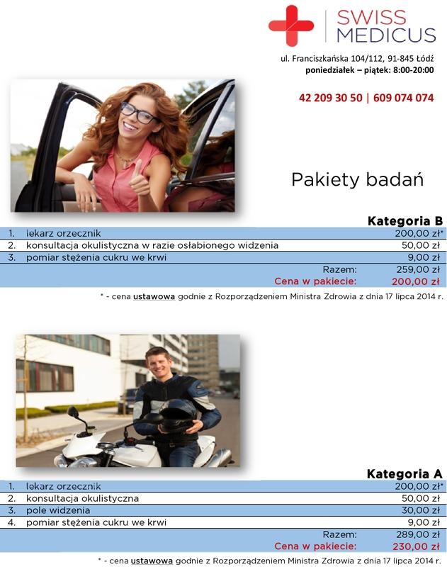 Pakiety badań dla kierowców