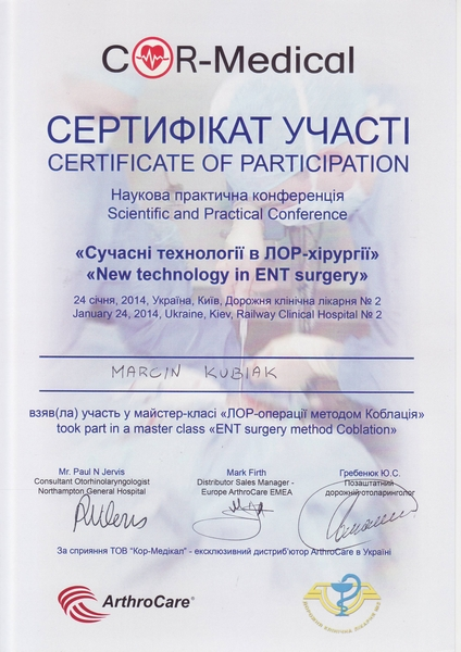 Coblation Certificate