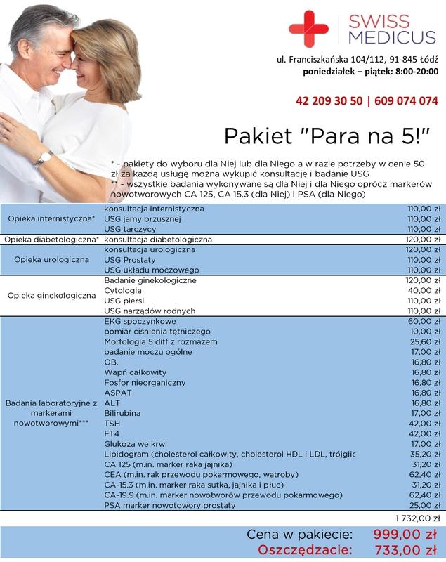"""Pakiet kompleksowych badań dla par """"Para na 5!"""""""