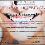lek. dent. Joanna Prażanowska FENICE CERTYFIKAT
